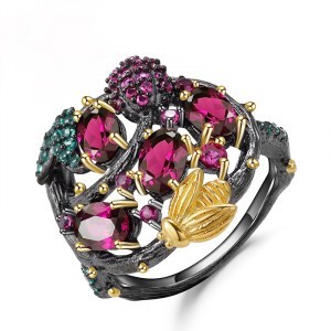 Rhodolite Garnet Gemstone Ring
