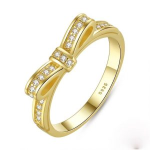 Sparkling Bow Stackable Ring