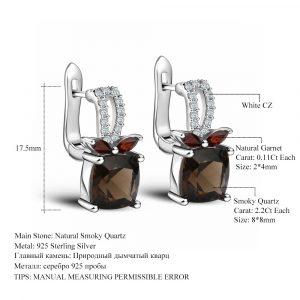 Smoky Quartz Genuine Earrings