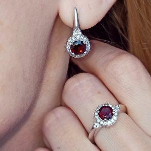 Garnet Earrings Ring Set