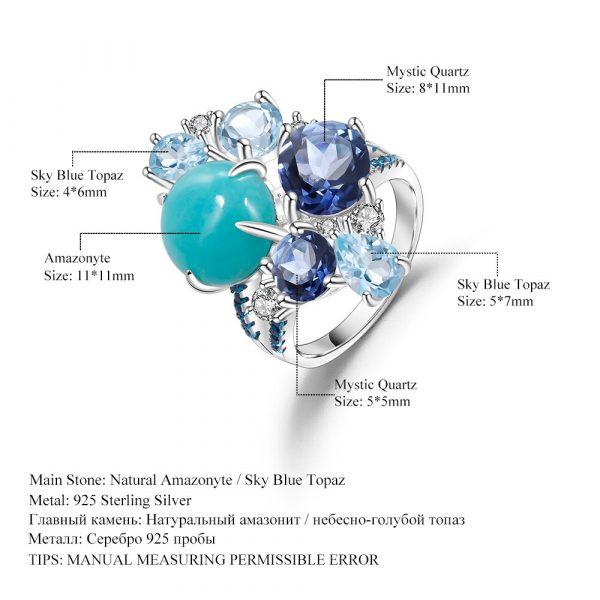 Amazonyte Blue Topaz Ring