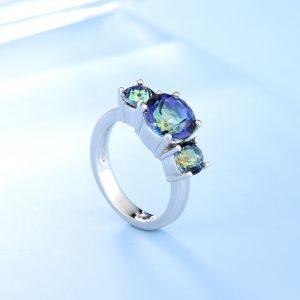 Three Stone Wedding Band Ring