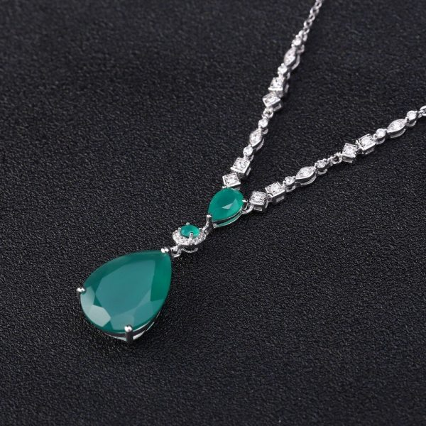 Green Agate Water Drop Necklace