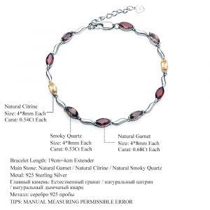 Garnet Citrine Smoky Bracelet