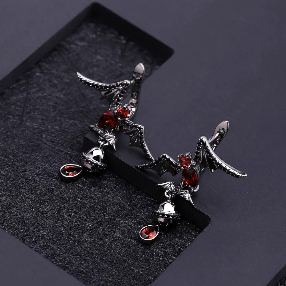 Garnet Gemstone Bat Earrings