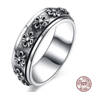 Sterling Rings Rotate Carving