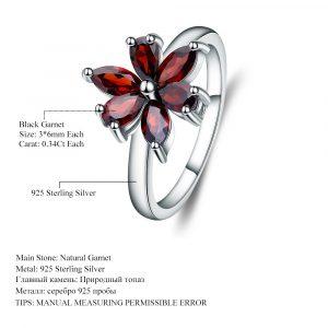 Flower Natural Garnet Rings