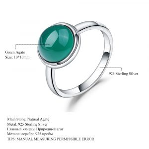 Green Agate Gemstone Ring