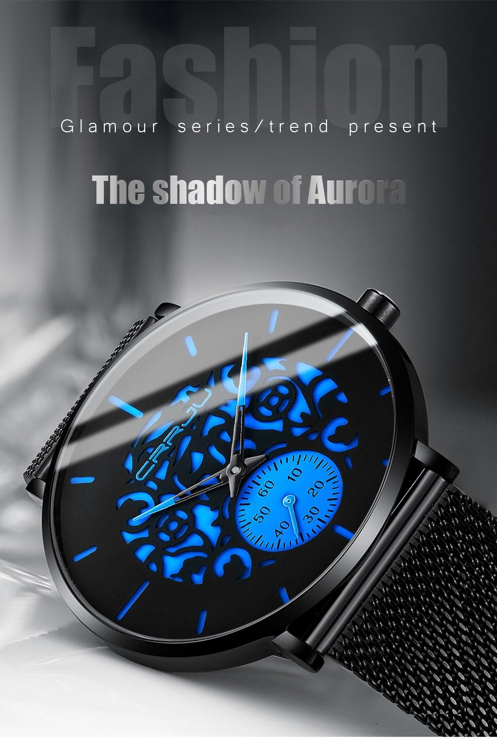 CRRJU Ultra-thin Mesh Strap Watch for Men Quartz Watch Fashion Men's Blue WristWatch at SenseOrient